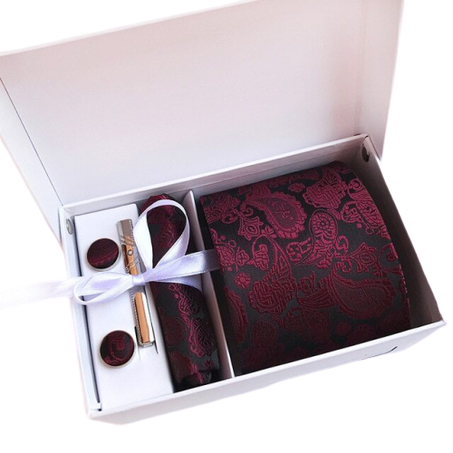 Burgundy Paisley Suit Accessories Set With Necktie, Tie Clip, Cufflinks & Pocket Square
