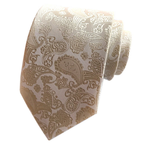 Classy Men Simple Champagne Paisley Silk Tie