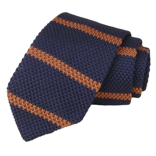 Classy Men Dark Blue Striped Knitted Tie