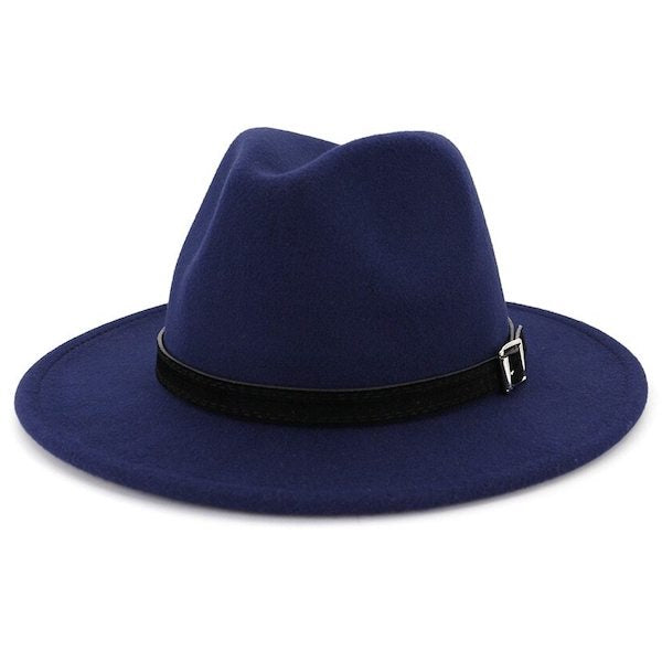 Classic navy blue fedora hat for men