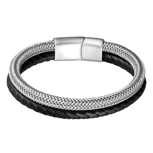 Classy Men Stainless Steel Leather Band Bracelet