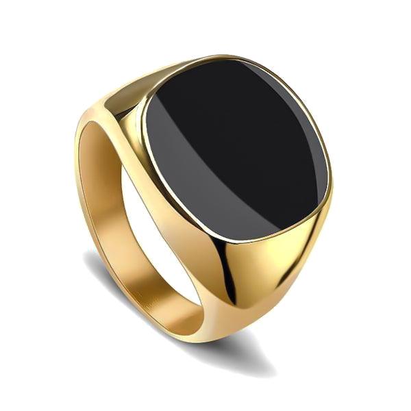 Elegant gold ring with black stone