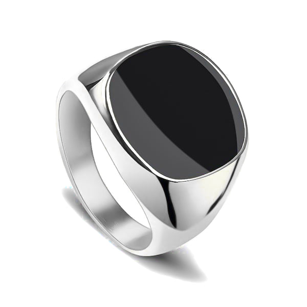 Elegant silver ring with black stone