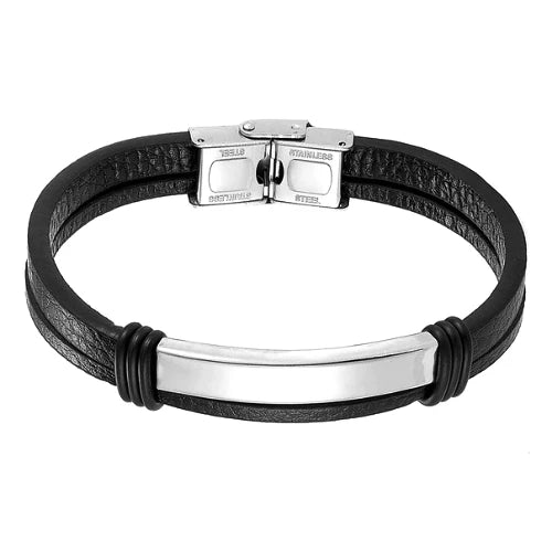 Classy Men Silver Bar Leather Bracelet