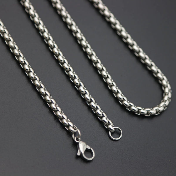 Classy Men 2mm Silver Box Chain Necklace