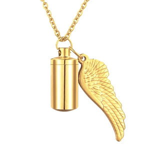 Gold Angel Wing Urn Pendant On A Gold Chain Necklace