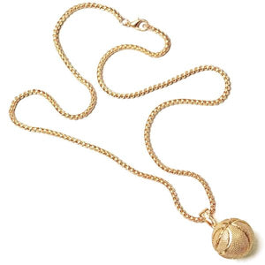 Gold basketball chain with real-looking basketball pendant