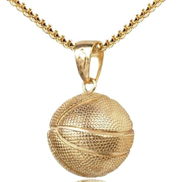 Gold basketball pendant necklace with chain