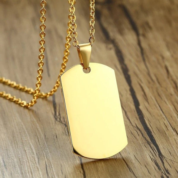 Classy Men Gold Dog Tag Pendant Necklace