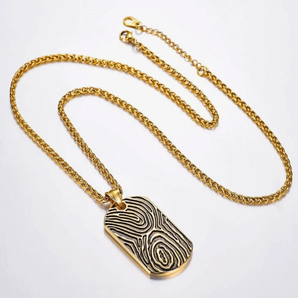 Classy Men Gold Fingerprint Dog Tag Pendant Necklace