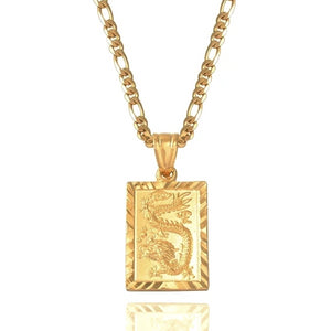 Gold plated dragon pendant necklace for men