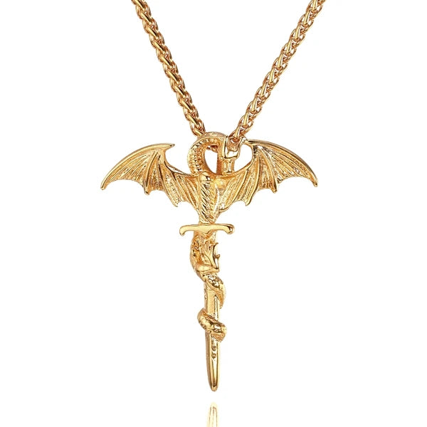 Gold dragon sword pendant necklace for men