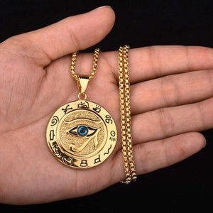 Gold Egyptian Eye of Horus pendant necklace for men