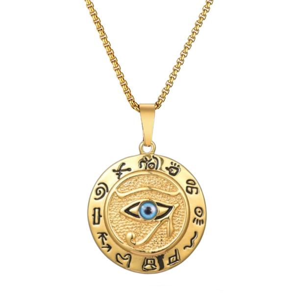 Gold Egyptian Eye of Horus pendant necklace with box chain