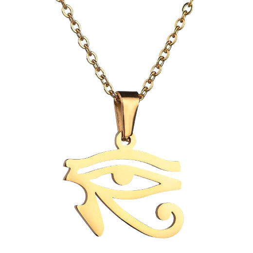 Gold Egyptian eye pendant necklace for men