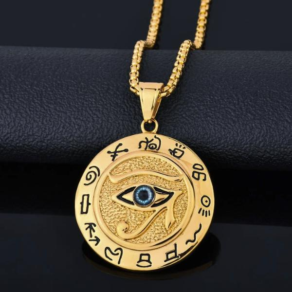 Gold Eye of Horus pendant with hieroglyphs