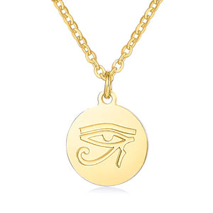 Gold round Eye of Ra pendant necklace for men