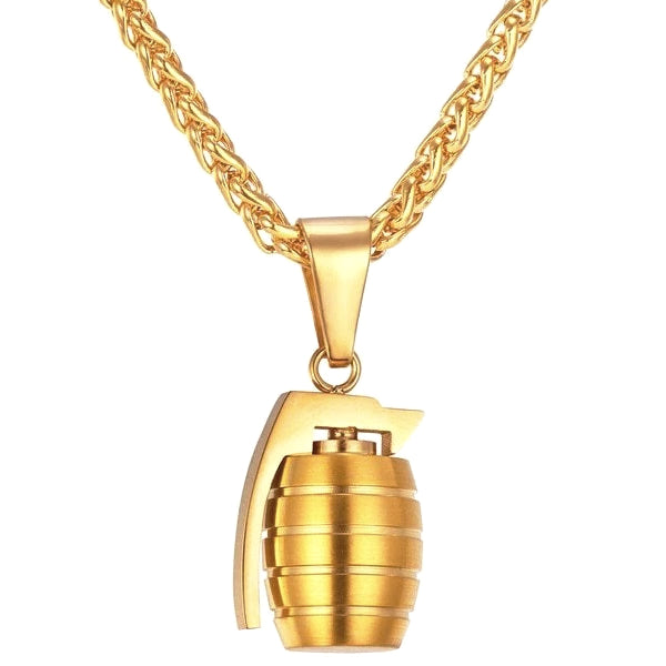 Classy Men Gold Grenade Pendant Necklace