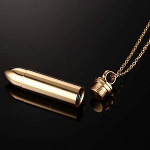 Openable Gold Pistol Bullet Urn Pendant Necklace For Ashes