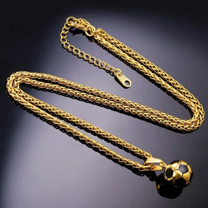 Gold soccer ball chain and pendant