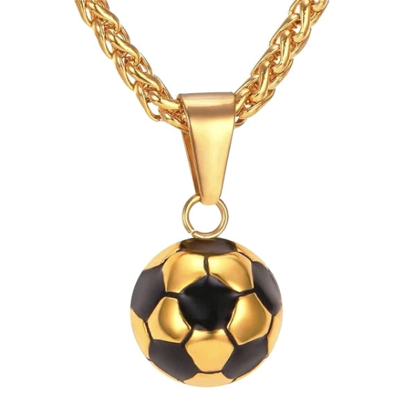 Gold soccer ball pendant and a gold wheat chain necklace