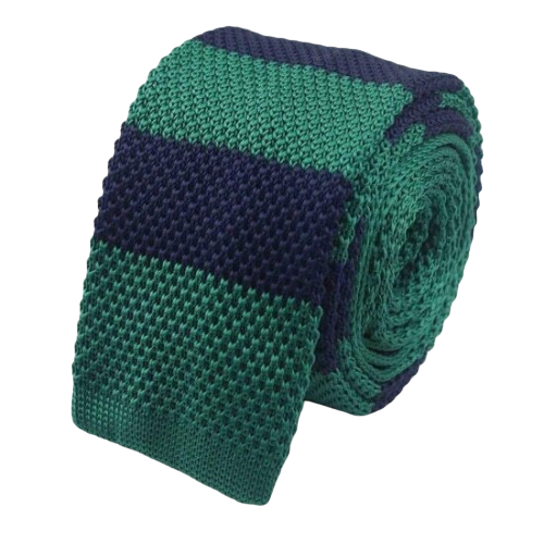 Classy Men Green Blue Striped Square Knit Tie