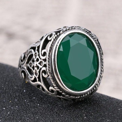 Jade Green Silver Signet Pinky Ring Mens