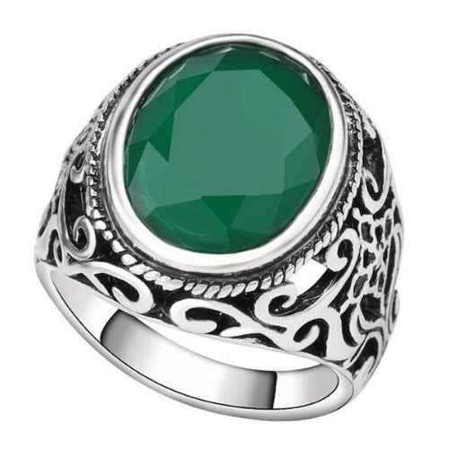 Jade Green Silver Signet Pinky Ring For Men