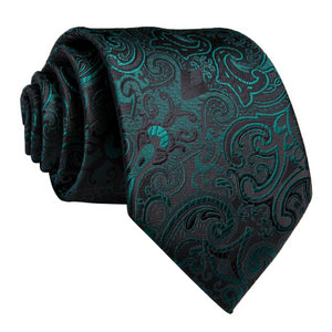 Green & black floral necktie made of silk