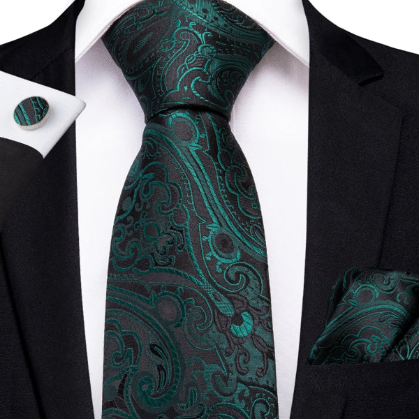 Green black floral tie set on a suit