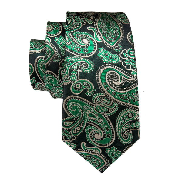 Green and black paisley necktie made of silk