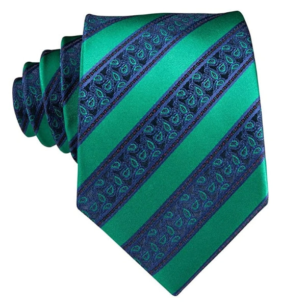 Green & blue striped paisley tie made of silk