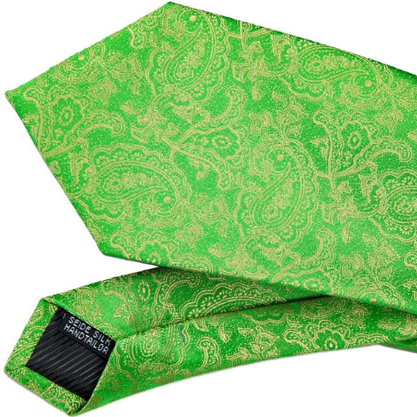 Details of the green and gold silk paisley tie