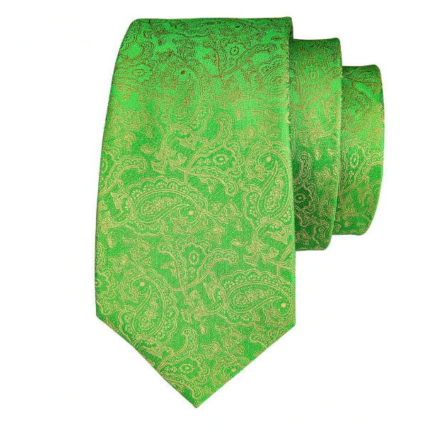 Green silk tie with a golden paisley pattern