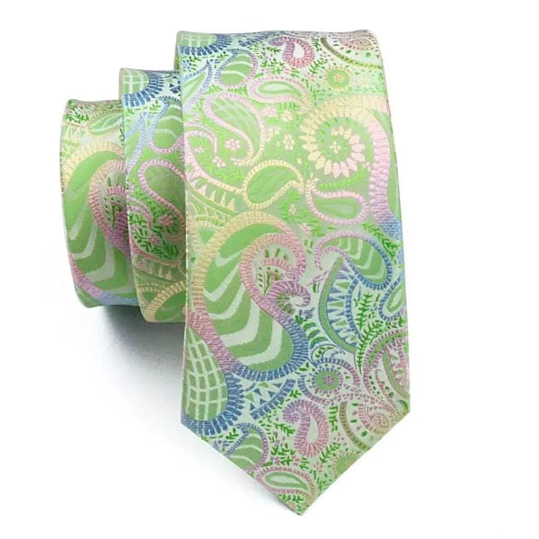 Green gradient paisley tie made of silk