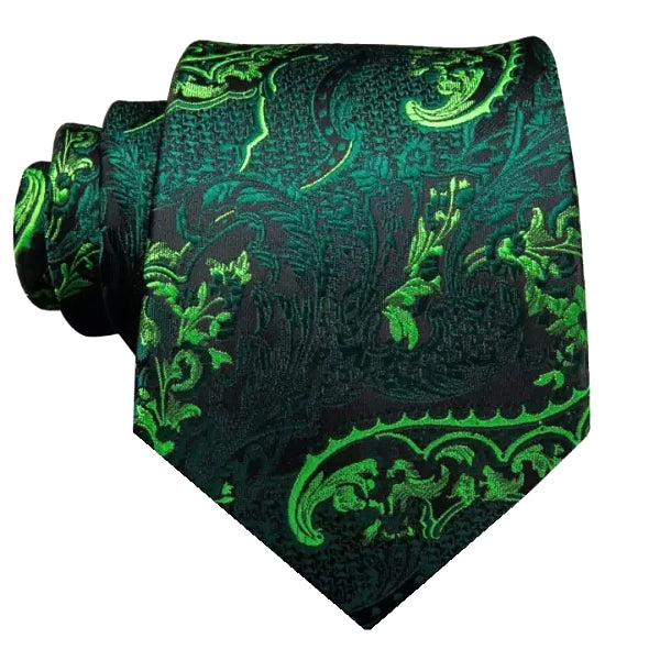 A luxurious green floral necktie made of silk
