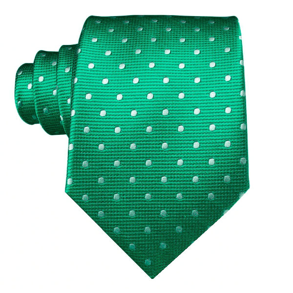 Pastel green polka dot necktie made of silk