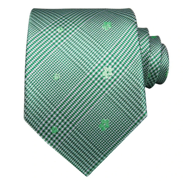 Green tartan floral tie made of silk