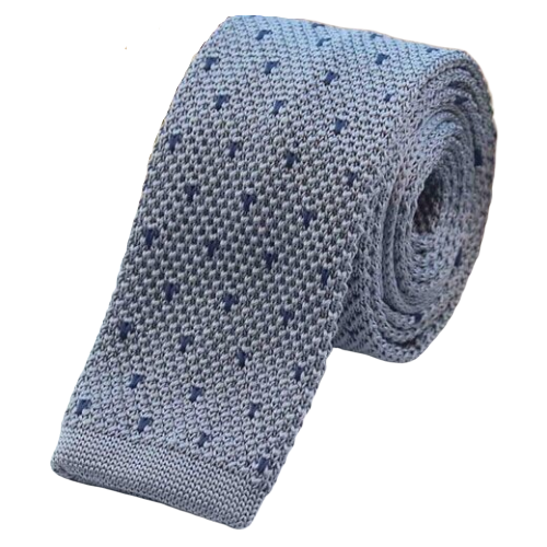 Classy Men Grey Dotted Square Knit Tie