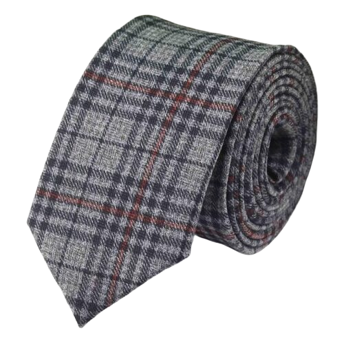 Classy Men Grey Red Checkered Cotton Necktie