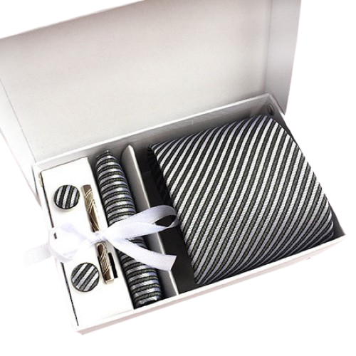 Grey And Silver Striped Suit Accessories Set With Necktie, Tie Clip, Cufflinks & Pocket Square