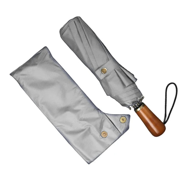 Grey folding windproof umbrella