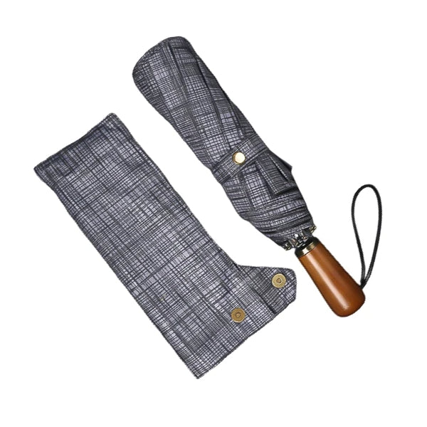 Grey plaid folding windproof umbrella
