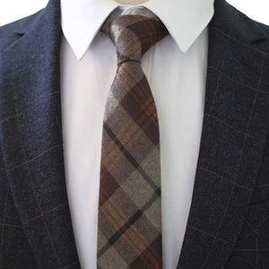Classy Men Brown Checkered Cotton Necktie