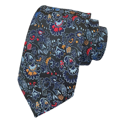 Classy Men Black Detailed Floral Silk Tie - Classy Men Collection