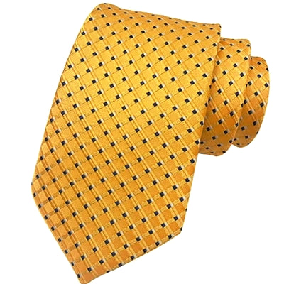 Classy Men Classic Yellow Grid Silk Tie - Classy Men Collection
