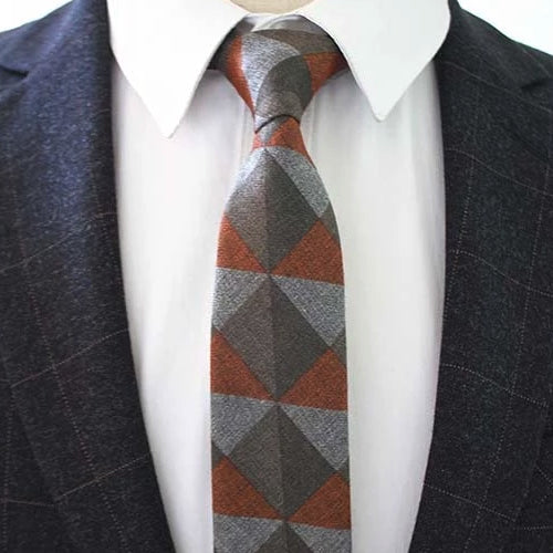 Classy Men Orange Triangle Cotton Necktie