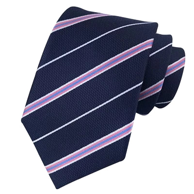Classy Men Classic Blue Pink Striped Silk Tie - Classy Men Collection