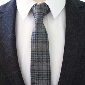 Classy Men Grey Blue Checkered Cotton Necktie