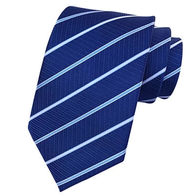 Classy Men Classic Royal Blue Striped Silk Tie - Classy Men Collection